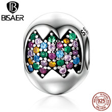 Classic Genuine 100% 925 Sterling Silver Colorful Easter Eggs Beads Fit Original Charms Bracelets Necklaces Gifts ECC256(China)