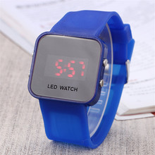 Led mirror Digital Electronic Silicone Brand Watch Round Edge Large size unisex lovers Clock Mens Ladies Unisex Sports Watches