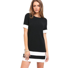 Buy New Summer Fashion Women Tops Clothing Black White Striped Mini Dress Casual Short Sleeve Slim Tee Shirt Dress Girl Clothes for $10.07 in AliExpress store