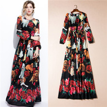 top international brands fashion rose dog floral print o-neck long sleeve chiffon maxi dress bohemian flare dress summer spring