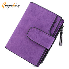 Guapabien Solid Small Purse Floral Carteras Matte PU Leather Women Clutch Wallet Mujer Femininas short mini wallet bifold purse