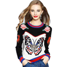 High Quality Women Fall Fashion Butterfly Swallow Rose Embroidery Sweaters Pullowers Knitwear Warm Winter Knitting Capes LCY131