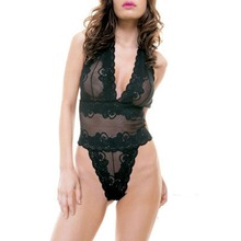 Buy Hot Sexy Costumes Halter Neck Lace Women Lenceria Teddy BabyDoll Transparent Erotic Sexy Lingerie