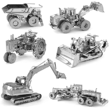 3D Metal Puzzles for children Adults Model Toys Jigsaw Tractor Crane Mining Truck Excavator wheel loader model Metal puzzles toy
