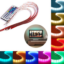USB LED Strip Light,  4x1.64ft RGB LED Rope Lighting Strips, TV LED Strips Backlight with 44 Key Mini Control for TV D
