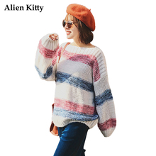 Alien Kitty Winter Autumn Standard Women Sweater Keep Warm Striped Pullovers Full Sleeve O-Neck Casual Knit New Female Sweaters(China)