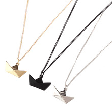 lastest fashion jewelry accessories metal paper folded flexagon faced gold ingot shaped boat ship pendant necklace