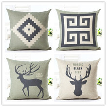 Fashion Linen Pillow Cover Print Cover Geometric Cartoon Deer pillowcases Abstract art Style Home Decorative Pillow Case 45x45cm(China)