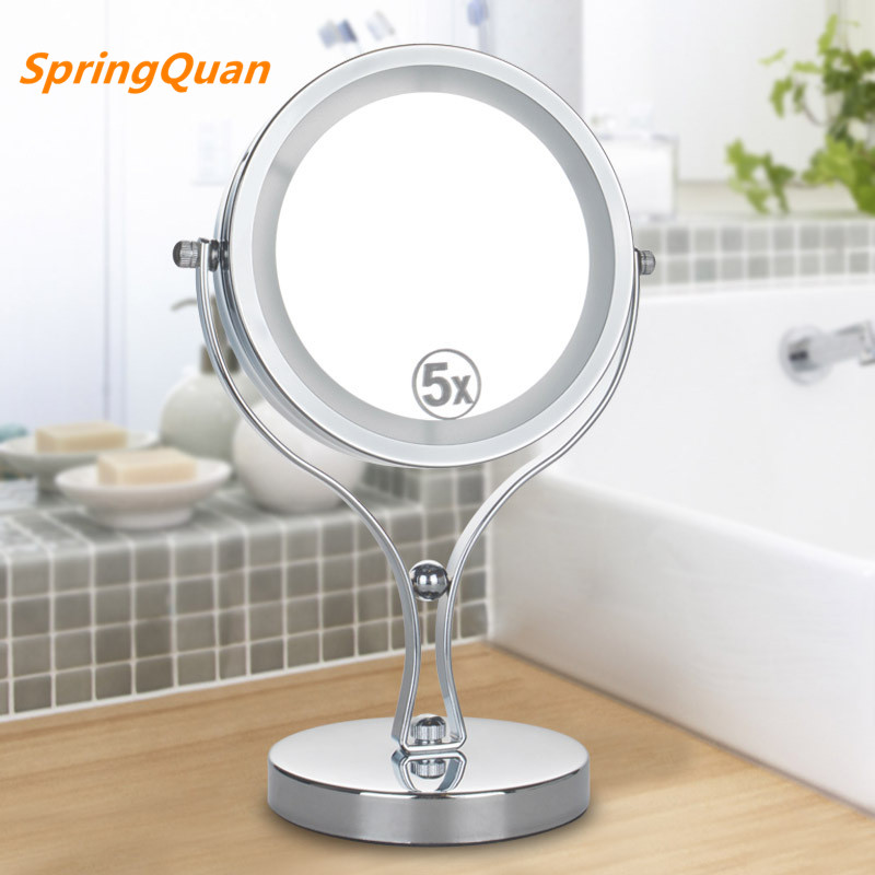 SpringQuan 6 inch  metal desktop makeup mirror 2-Face mirror 5X magnifying battery LED lamp  cosmetic mirror Valentines gift<br>