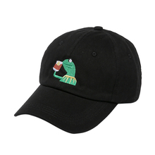 Kermit Tea Hat The Frog Sipping Drinking Tea Baseball Dad Visor Cap Emoji New Popular 6 Panel polos caps hats for men and women(China)