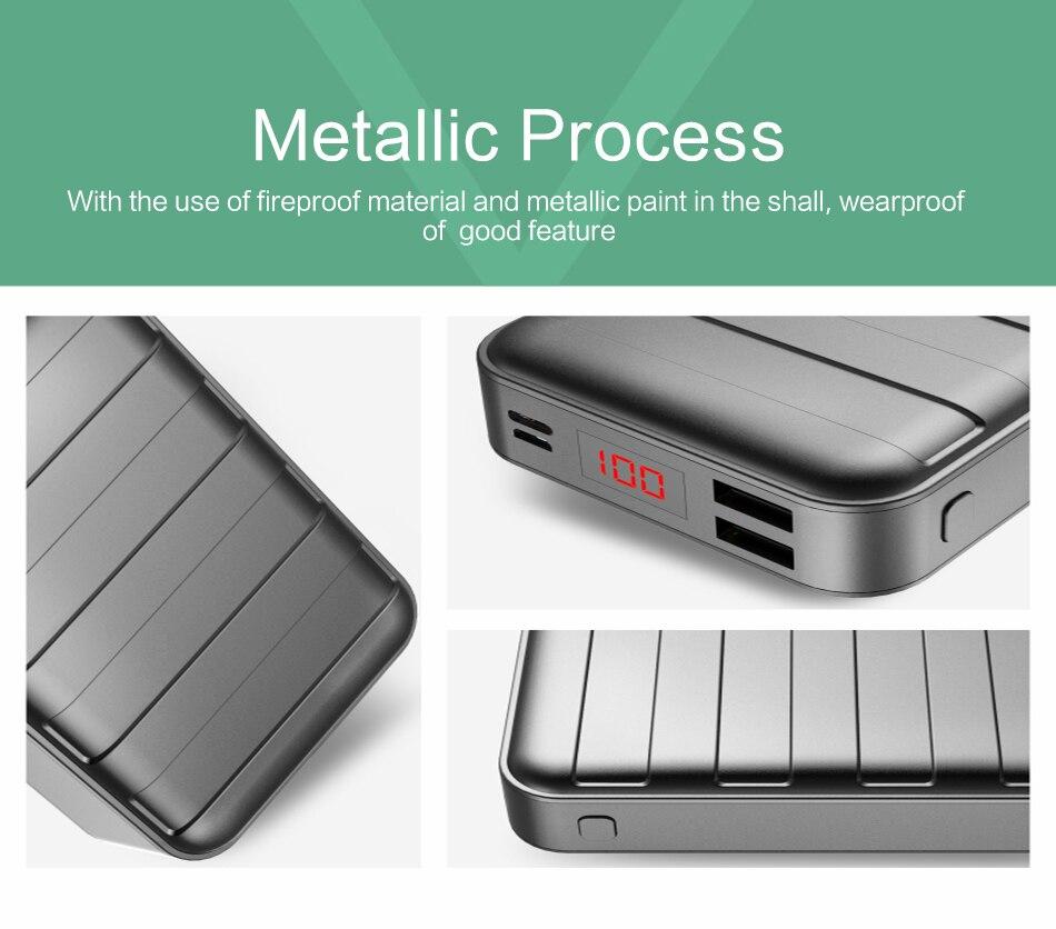 Power Bank 20000mAh USAMS LCD Portable PowerBank External Battery Dual USB Charger For Mobile Phones Tab