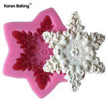 Snow Flake Shape Chocolate Candy Jello 3D Silicone Mould Cartoon Figre/Cake Tools Soap Mold Sugar Craft Cake Decoration C315