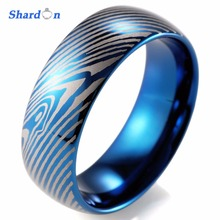 SHARDON Men's 8mm Damascus Stripes IP blue plated Tungsten Ring Comfort fit Wedding band fashion jewelry Engagement ring(China)