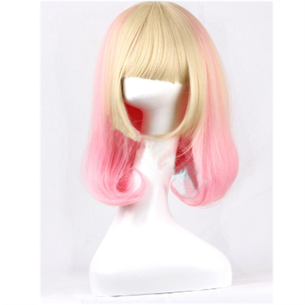 100% Good 35cm Lolita female wigs cosplay Pink mix Blonde synthetic wigs none lace women Curly Long cheap Fake Hair WM0611641<br><br>Aliexpress
