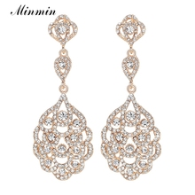 Minmin Crystal Long Earrings for Women Gold Color Party Hanging Earrings 2017 New Fashion Wedding Jewelry for Bridesmaid EH188(China)