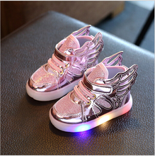 Free Gift Girls Luminous LED Light Shoes Angel Wings Baby Boys Casual Led Shoes Children Sneakers size 21-30(China)