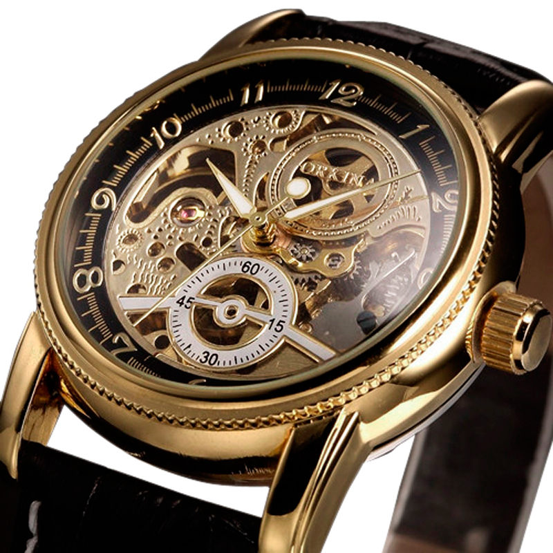 Luxury Golden Skeleton Gear Design Genuine Black/Brown Leather Band Strap Cool Mechanical Automatic Men Women Sport Wrist Watch<br><br>Aliexpress
