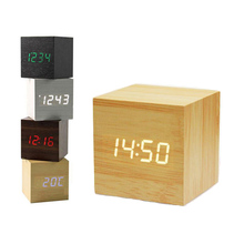 Mini Cube Wooden Clock Voice Control Electronic Table Clock LED Digital Desk Watch Nixie Radio For Children Bedside Alarm Clock