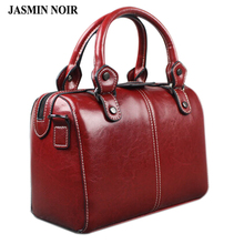 Real Cow Leather Ladies Women Genuine Leather Handbag Shoulder Bag High Quality Designer Luxury Brand Boston Crossbody Bag(China)