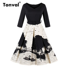 Tonval Swan and Tree Print Elegant Winter Dress 2017 Women Retro Autumn Belted Pleated Dress Vintage 1950S Swing Dresses