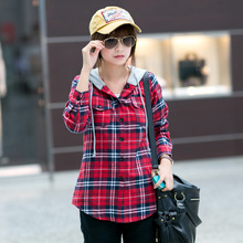 Women Casual Hooded Plaid Shirt Cotton Long Sleeved Tops ladies Red Green Gray Cap Checkered Blouse Plaid Shirt Women