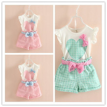 2016 New Summer Fashion Children Kids clothes set Baby Girls Clothing Set Suit Sleeveless Heart Shirt Vest +Bowknot Plaid Shorts