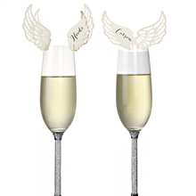 120pcs Paper Laser Cut Wings Table Name Place Escort Cup Card Wine Glass Cards Wedding Shower Party Decor Hollow to add words