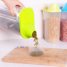 Best Selling 1.9L Creative Plastic Storage Box Kitchen Food Cereal Grain Bean Rice Storage Container Box 3 Colors High Quality