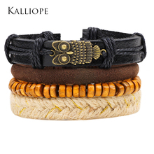 Kalliope 2017 New bracelet ancient bronze owl accessories beaded bracelet male multi-layer combination braided leather bijoux