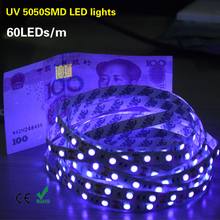 5M/Pack 5050 Chip UV Led Strip Light 300Leds Not-waterproof Ultraviolet 395-410nm LED Strip DC 12V Led Tape Lamp Cabinet Lamp()
