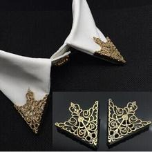 2016 Fashion alloy gold Color Hollow pattern collar angle Palace retro shirts brooch pin collar Jewelry wholesale Free Shipping