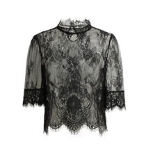 2017 Sexy Sheer Lace Crop Top Women Embroidery Lace Tops High Neck Half Sleeve Ladies Blouse Mesh Shirt Clubwear Blusas Black(China)