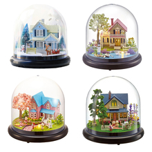DIY Assemble Crystal Ball Doll House Romantic Miniature Dollhouse With LED Light Birthday Gift Craft
