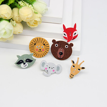 Multicolor 50pcs 2 Holes Mixed Animal Wooden decorative Buttons Fit Sewing Scrapbooking Crafts(China)