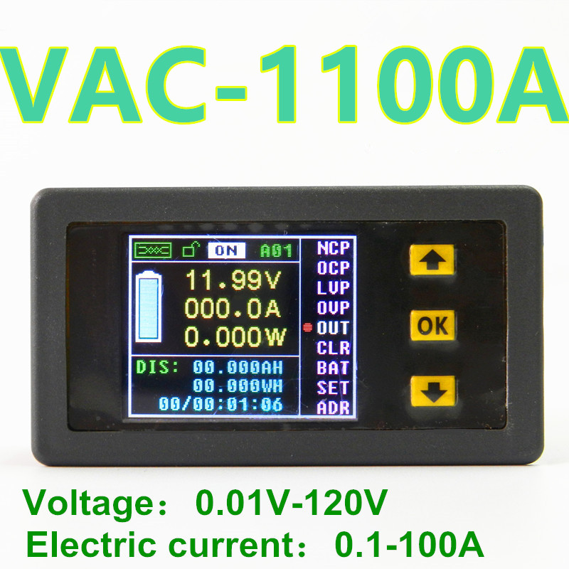VAC1100A Wireless Color LCD voltage meter Wh table Coulomb Counter  For voltage current power capacity watts 120V/100A<br><br>Aliexpress