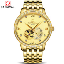 New Steel Bracelet Rhinestone Skeleton Watch Brand Luxury Full Golden Bell Men's Automatic Mechanical Watches Sport Design Clock(China)