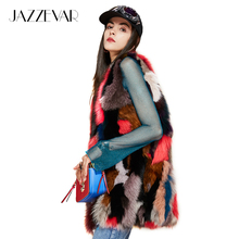 JAZZEVAR New 2017 Winter high Fashion street Women's Luxurious Real Fox fur vest multicolor patchwork fur MD-LONG Jacket outwear(China)