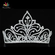 Peacock Star Vintage Style Pageant Beauty Contest Crown Full Circle Round Tall Tiara Crystal CT1726