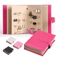 Portable Book Style PU Leather Jewelry Organizer Earrings Studs Hooks Holder Jewelry Storage Case TB Sale