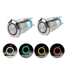 1PC Useful 5 Colors 19mm 12V Car Aluminum LED Power Push Button Metal ON/OFF Switch Latch Self-Locking(China)