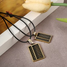 ZOSHI 2pcs/lot Black PU Leather Rope Chain Antient Gold Abacus Pendants Necklaces Men Women Lover's Necklaces Wholesale Price