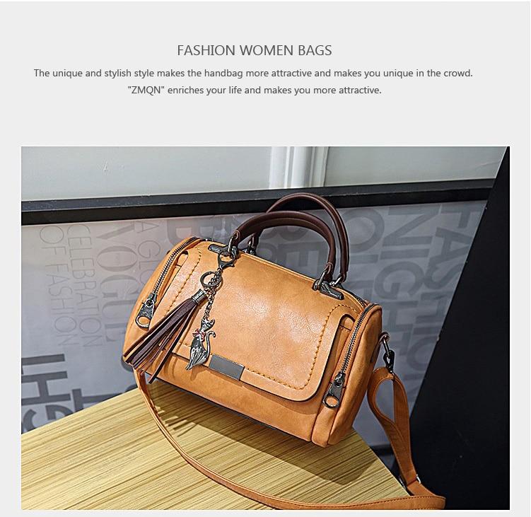 edbe90929e3a ZMQN Woman Bags 2018 Crossbody Bags For Women Retro Vintage Ladies Leather Handbags  Women Tassel Shoulder Bag Female Zipper C648