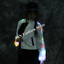 LZ51 Colorful led light costumes ballroom dance led suit stage clothes luminous party dress glowing women wears dj singer show(China)