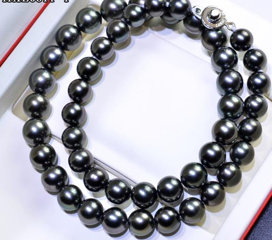 free shipping STUNNING round 10-11mm black green pearl necklace 18inch 925s