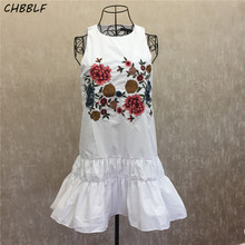 New European Laminated Decorative Embroidered Dress Women Cute Pleated Sleeveless Summer Women Dress Cdc8286