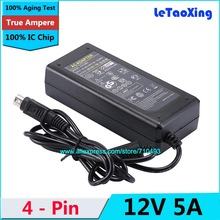 1pcs AC DC 12V 5A 4 Pin Power Adapter Supply 60W Switch 4-Pin For LCD TV Monitor Laptop Battery Charger With IC Chip(China)