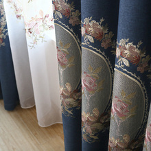 Green/Blue Thick Embroidered Velvet Curtains for Living Room Elegant Window Curtains for Bedroom Faux Linen Curtains Drapes(China)