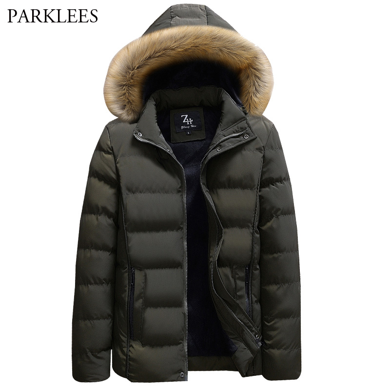 Men's Faux Fur Hooded Warm Coats Outwer 2018 Brand New Winter Thick Jackets Men Hat Detachable Warm Parka Coat Casaco Masculino