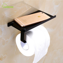 European Style Black Toilet Paper Towel Rack, Mobile Phone Stand Rack Antique Bathroom Roll Holder for Toilet(China)