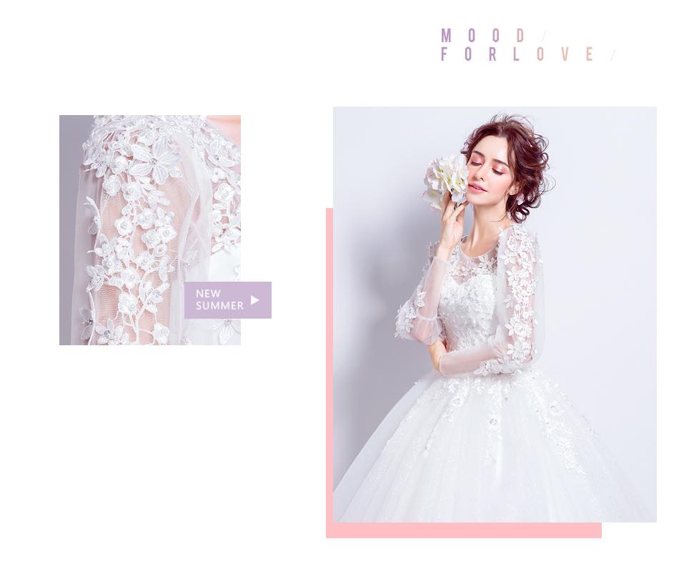 Angel Wedding Dress Marriage Bride Bridal Gown Vestido De Noiva 2017 Sweet, lace, flowers, long sleeves, 6011 4